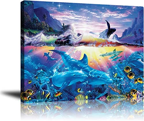 Premium Canvas Wall Art Blue Ocean Animal Decor, Tropical Fish Dolphin Artwork Printed on Canvas for Bathroom Living Room Bedroom Office Pictures Stretched and Frameless Ready to Hang 16×20 inch