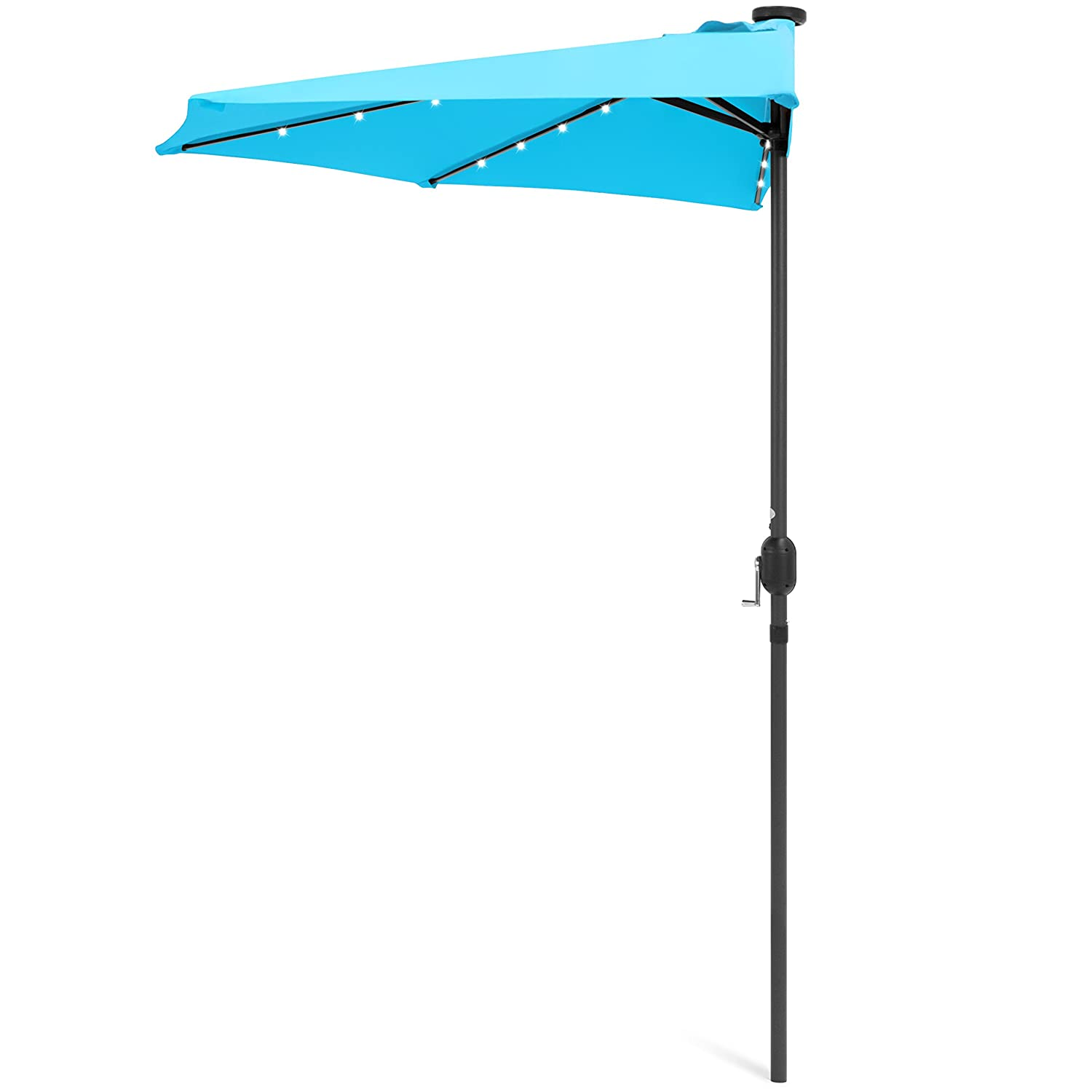 Best Choice Products 8.5ft Solar LED Half Umbrella for Backyard, Patio, Porch w Crank – Light Blue