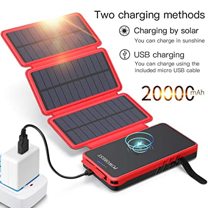 POWOBEST Folding Waterproof Outdoor Wireless Power Bank 20000mAh, Solar Battery Pack Charger with LED Flashlight and 3 Foldable Solar Panels, Portable ...