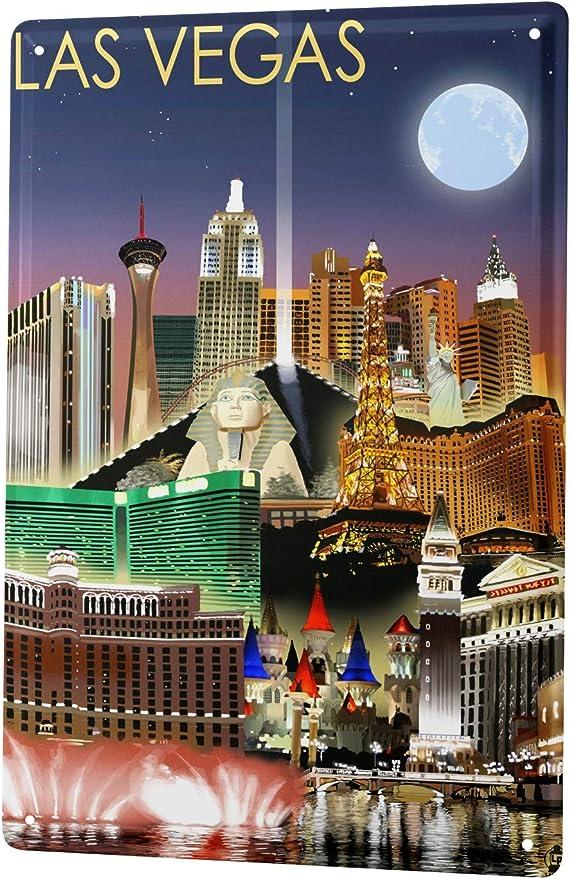 Blechschild Fernweh Stadt  Las Vegas
