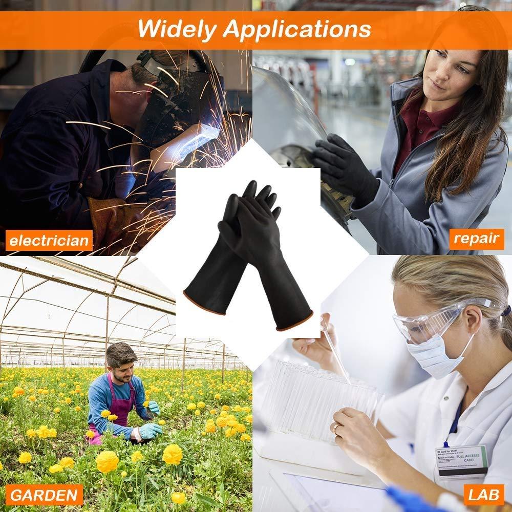 guantes de goma industrial Guantes de l/átex de alta resistencia resistentes al agua /ácidos fuertes alcalinos y aceite protecci/ón de seguridad para trabajo de limpieza 2 35cm 1 pair