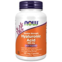 Now Foods Supplements, Hyaluronic Acid, Double Strength 100 mg, with L-Proline, Alpha Lipoic Acid and Grape Seed Extract, 120 Veg Capsules, Brown