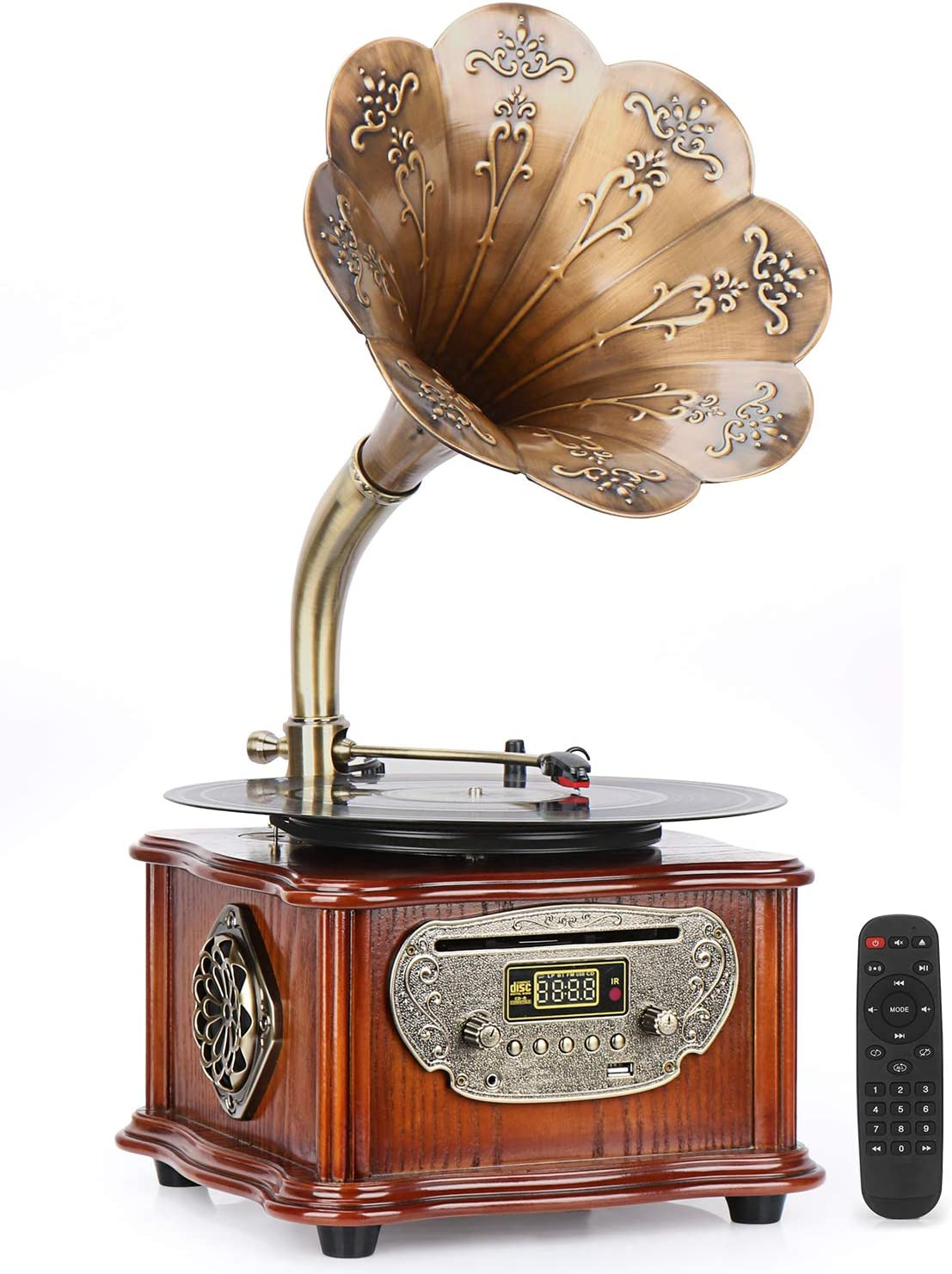 Phonograph Vintage Turntables with Wireless Speakers, Record Player, CD Player/3.5mm Aux-in/FM Radio/USB, Wood Gramophone with Copper Horn for Office/Home Decor