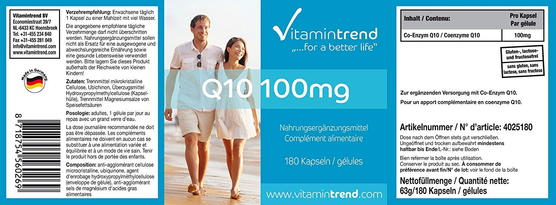 Coenzima Q10 100mg - Vegana - Altamente dosificada - 180 cápsulas de ...