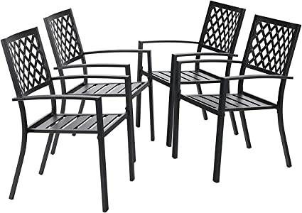 Amazon Com Mfstudio Black Metal Patio Stacking Chairs Wave Back Indoor Outdoor Dining Set Wrought Iron Chair With Arm Set Of 4 Garden Outdoor