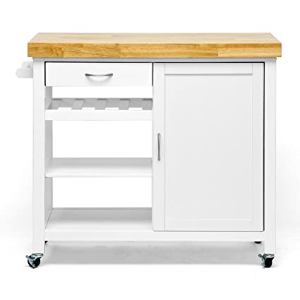 Genial Baxton Studio Denver Modern Kitchen Cart/Island With Butcher Block Top,  Natural, White