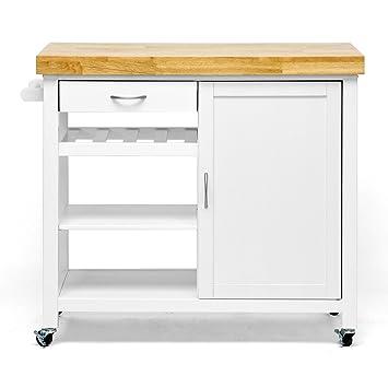 Baxton Studio Denver Modern Kitchen Cart Island With Butcher Block Top White