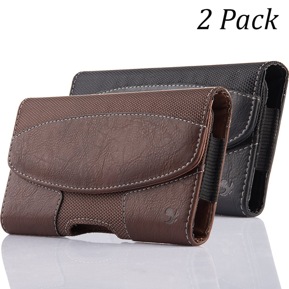 2 Pack iNNEXT iPhone 8 Plus Pouch Case, Premium Horizontal Leather Case Pouch Holster with Magnetic Closure with Belt Clip Holster and Belt Loops for iPhone 7 Plus/6S Plus 5.5 inch (Brown/Black)