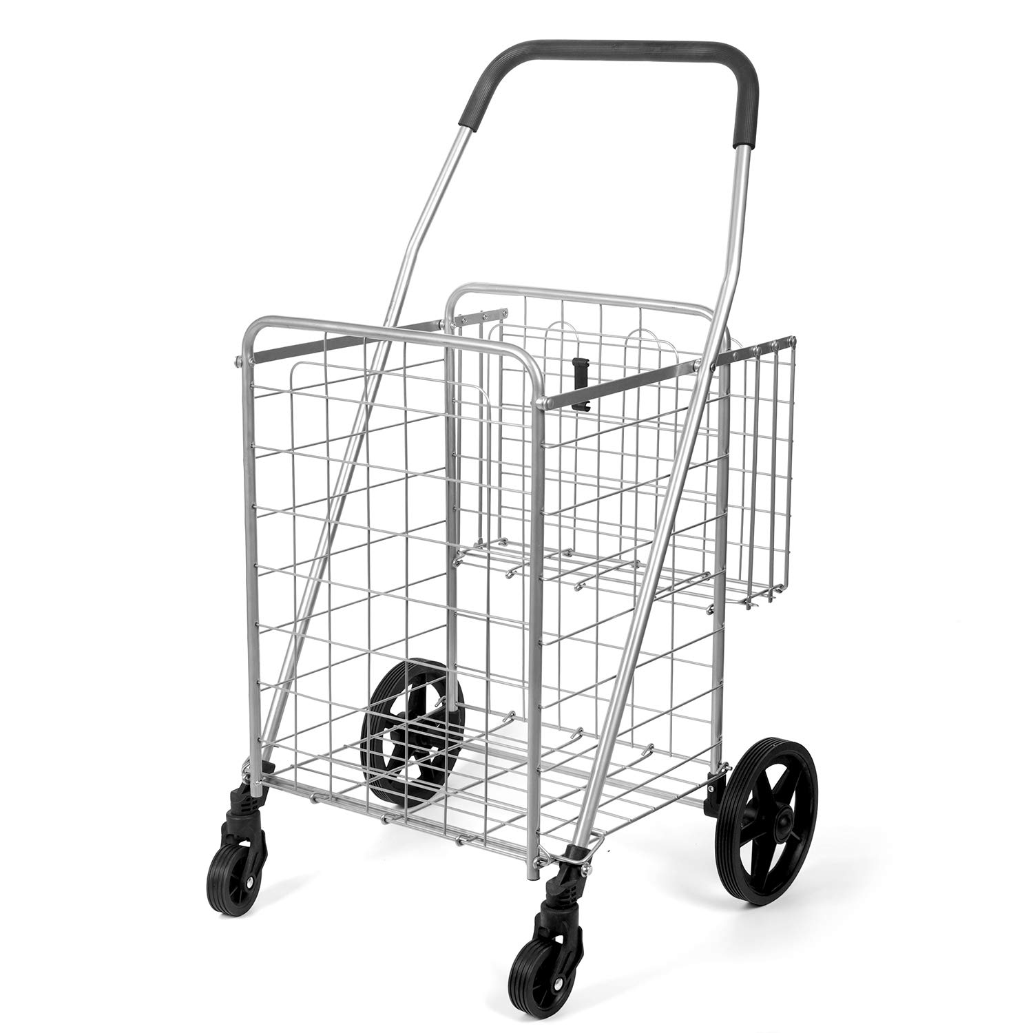 Durable Utility Folding Shopping Cart – Supenice (SN7504) Adjustable Handrails Double Basket Swivel Wheels 66 lbs Capacity Multipurpose Trolley Dolly Suitable with Laundry, Shopping, Grocery