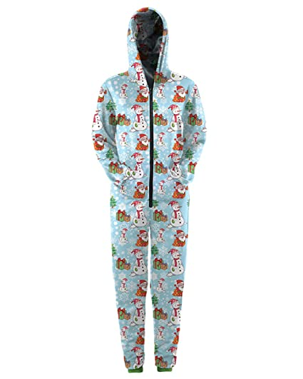 RAISEVERN Christmas Onesie Snowman 3D Printed Cozy Adult Jumpsuit with hooded for Men & Women L - XL