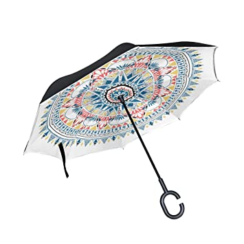 MAILIM Mandala Bohemia Florals - Paraguas invertido Plegable (Doble Capa, Mango en C,