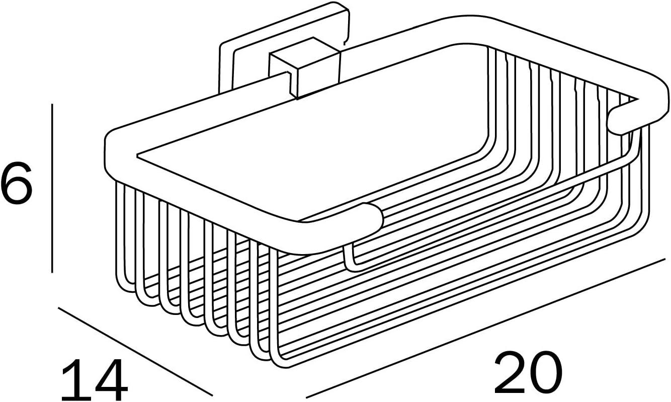 14 x 20 x 6 cm INDA A18510CR Lea Panier de Rangement de Douche Haut en Laiton chrom/é