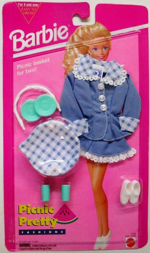 1994 Barbie Picnic Pretty Fashions /& Accessories Easy To Dress