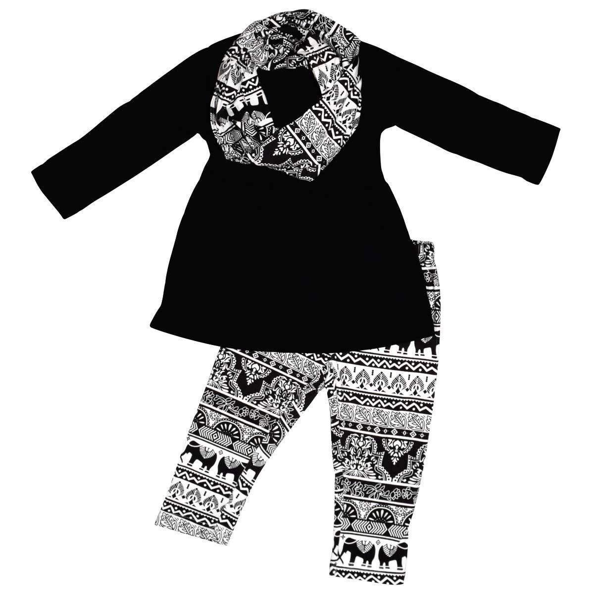 Unique Baby Girls 3 Piece Matching Animal Print Legging Set