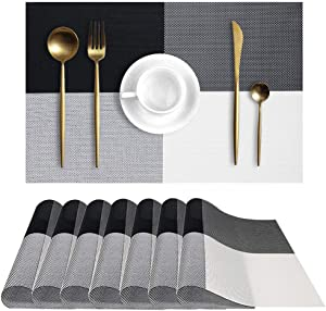 UMORNING Placemats Washable Kitchen Table Place Mat Stain-Resistant Cross Weave Woven Vinyl Table Mats (Set of 8, Black+White)