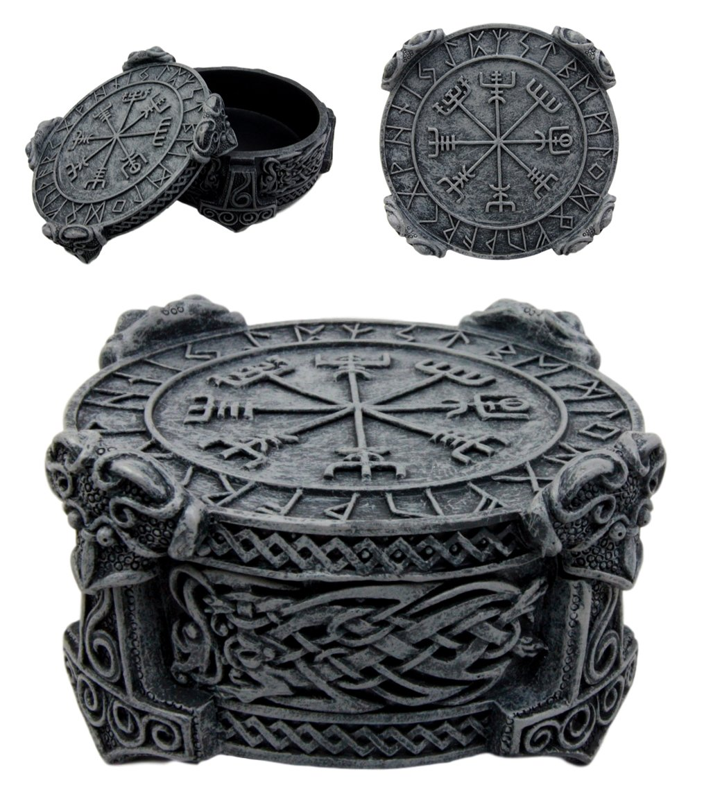 "Ebros Norse Mythology Thor Mjolnir Hammer Vegviser Magical Talisman Compass Jewelry Trinket Box Figurine 5""L As Viking Old Gods Decor Statue Small Storage Container"