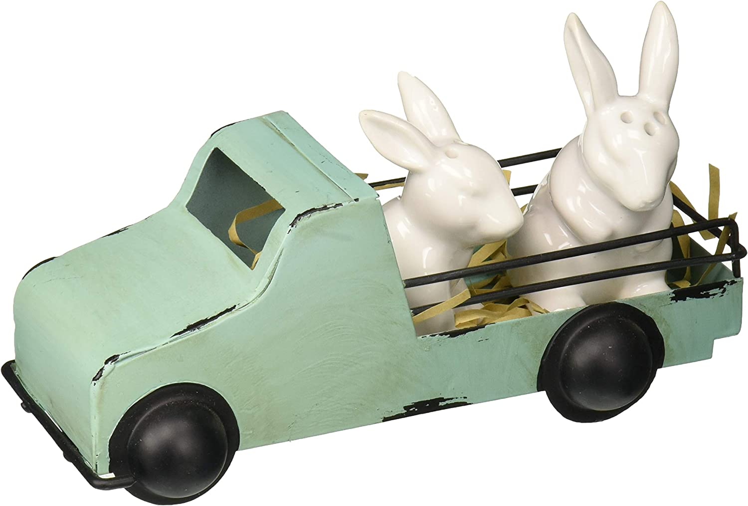 Bunny and Tin Truck salt and pepper shakers set