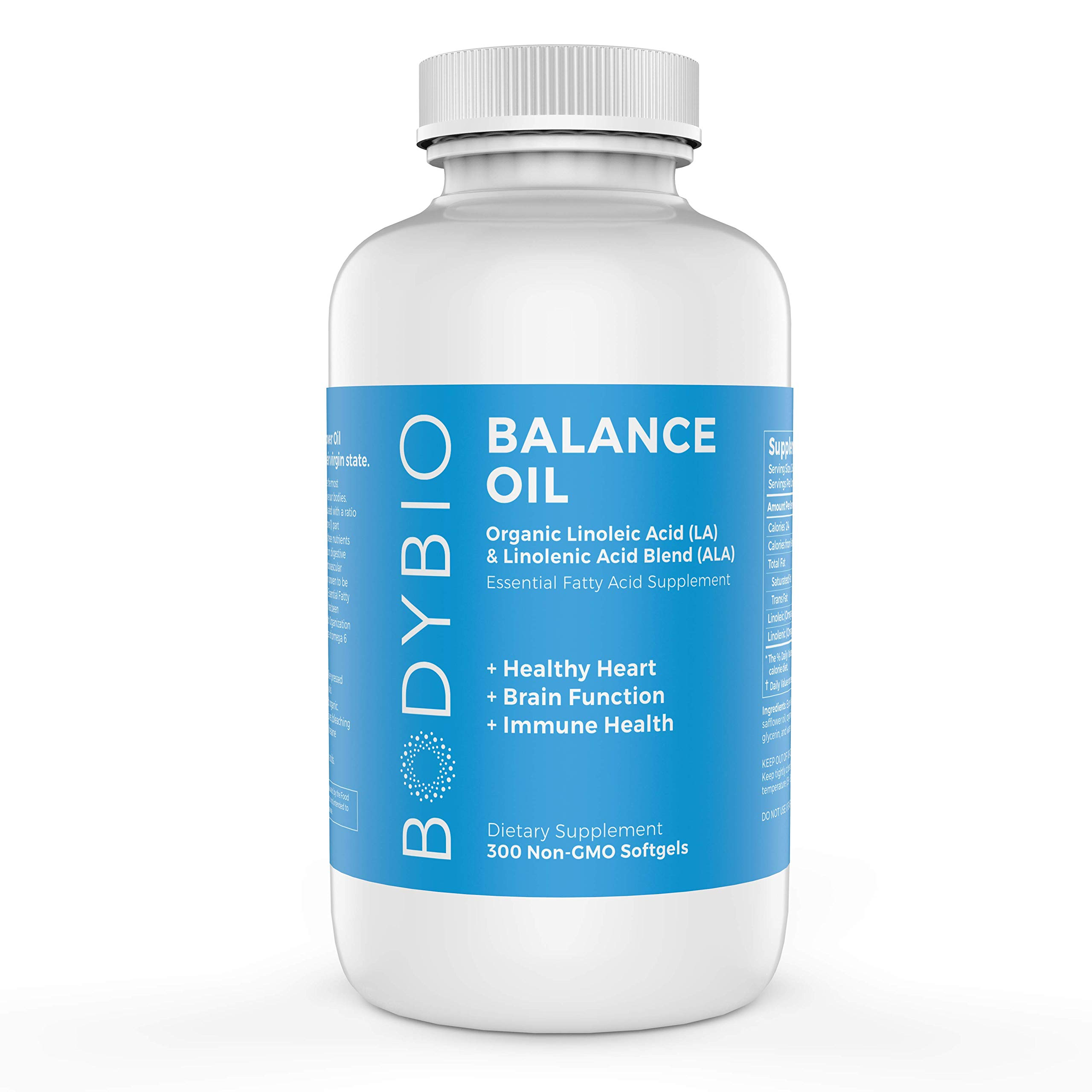 BodyBio Balance Oil, Essential Fatty Acids, Organic Safflower and Flax Seed Oil Blend, 4:1 LA to ALA, 300 Softgels