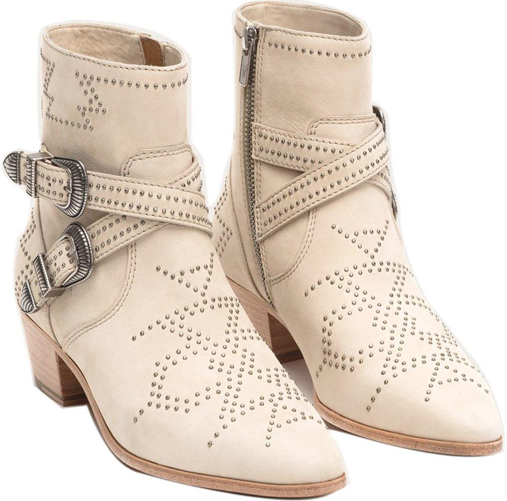 FRYE Womens Ellen Deco Buckle Short Ankle Boot B079TZVZHX 9.5 B(M) US|Ivory