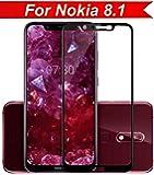 Frazil Full Glue, Full Coverage Edge-to-Edge 6D Tempered Glass Screen Protector for Nokia 8.1 (Black)