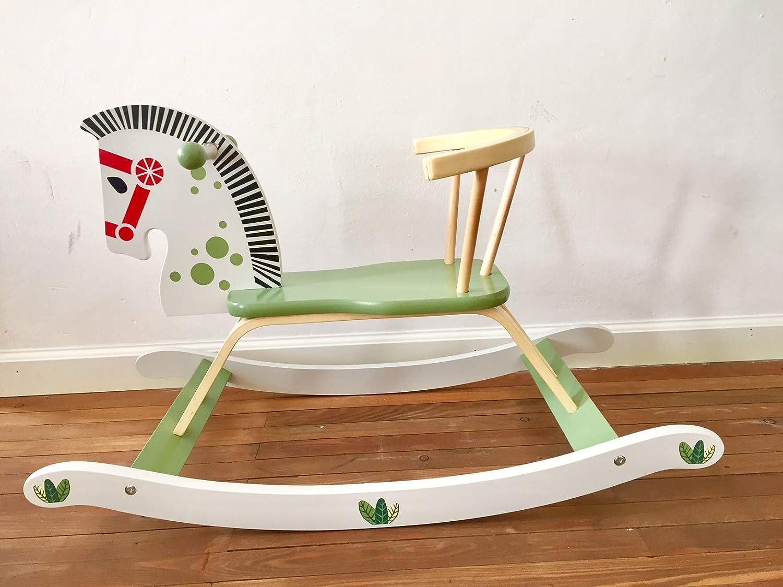 Schaukelpferd aus Holz gro/ß gr/ün//wei/ß Pferd Holzspielzeug Tolles Geschenk ab 1 Jahr super s/ü/ß Hutschpferd mit Lehne