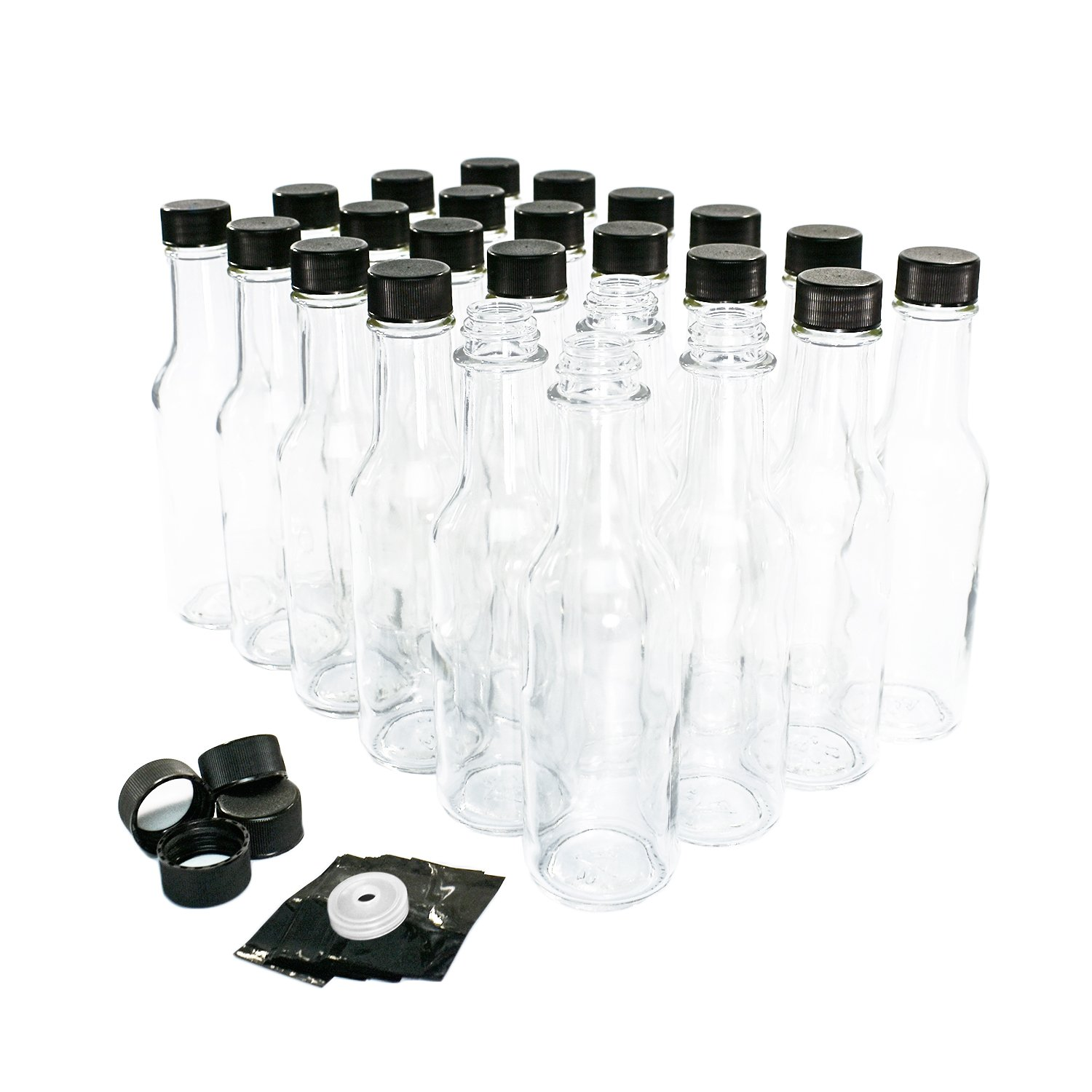 (24 Pack) 5 oz. Clear Glass Hot Sauce Bottle with Black Cap + Shrink band and Orifice Reducer (24/400)