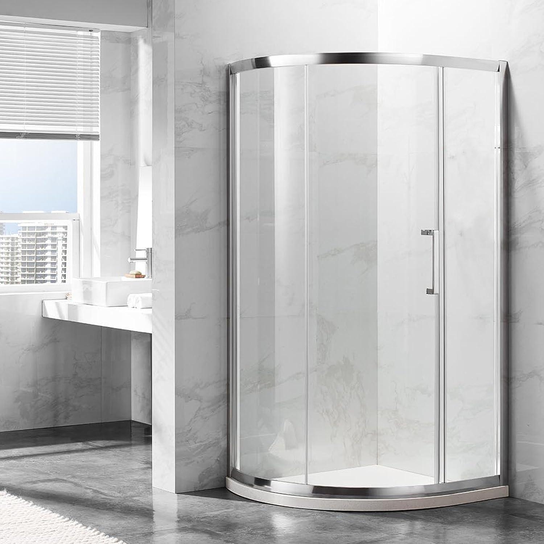 deluxes 192201 cabinas de ducha 100 x 90 x 195 cm, para esquina de ducha, cuarto de círculo, 6 mm cristal de seguridad con puerta corredera, aluminio de alta de perfil, sin