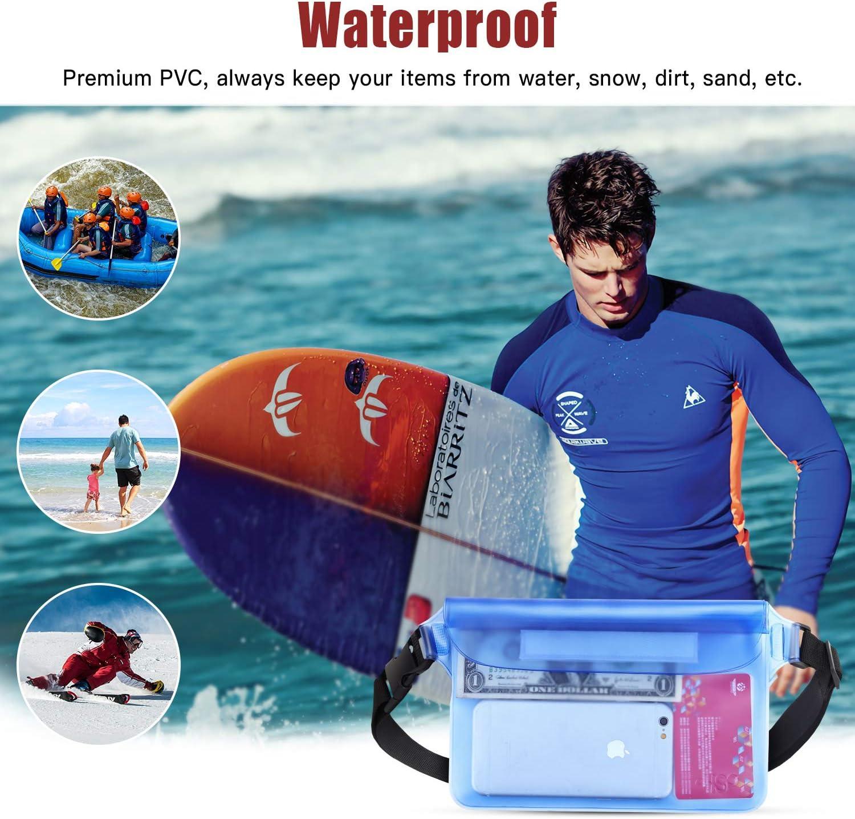 Nero+Blu 2 PZ Marsupio Impermeabile con Cinturino Regolabile HeySplash Borsa Impermeabile con Cintura Saccetto Impermeabile con IPX8 per Spiaggia Nuoto Kayak Canottaggio Drifting Pesca