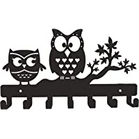 HeavenlyKraft Owl Duo Metal Key Holder Black Size 27 X 15.5 X 2.5 cm 7 Hooks Steel Key Rack Metal Key Cabinet Owl Key Hanger Medal Hanger Leash Hanger