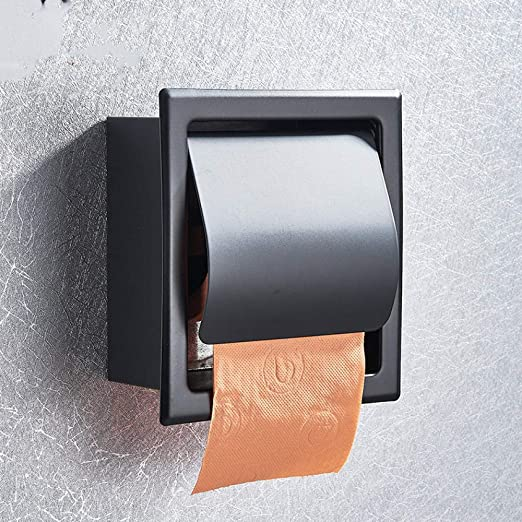 Soporte de papel higiénico cromado negro mate Acero ...