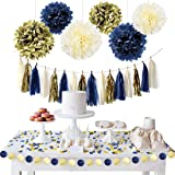 NICROLANDEE Navy Blue Gold Party Decoration Kit Nautical Baby Shower Hanging Pom Poms Paper Garland Party Confetti for Get Ready Bridal Shower Wedding Birthday Bachelorette