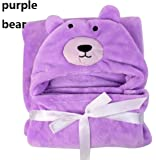 BRANDONN Purple Bear Hooded Baby Blanket With Wrapping Sheet For Babies (Purple)