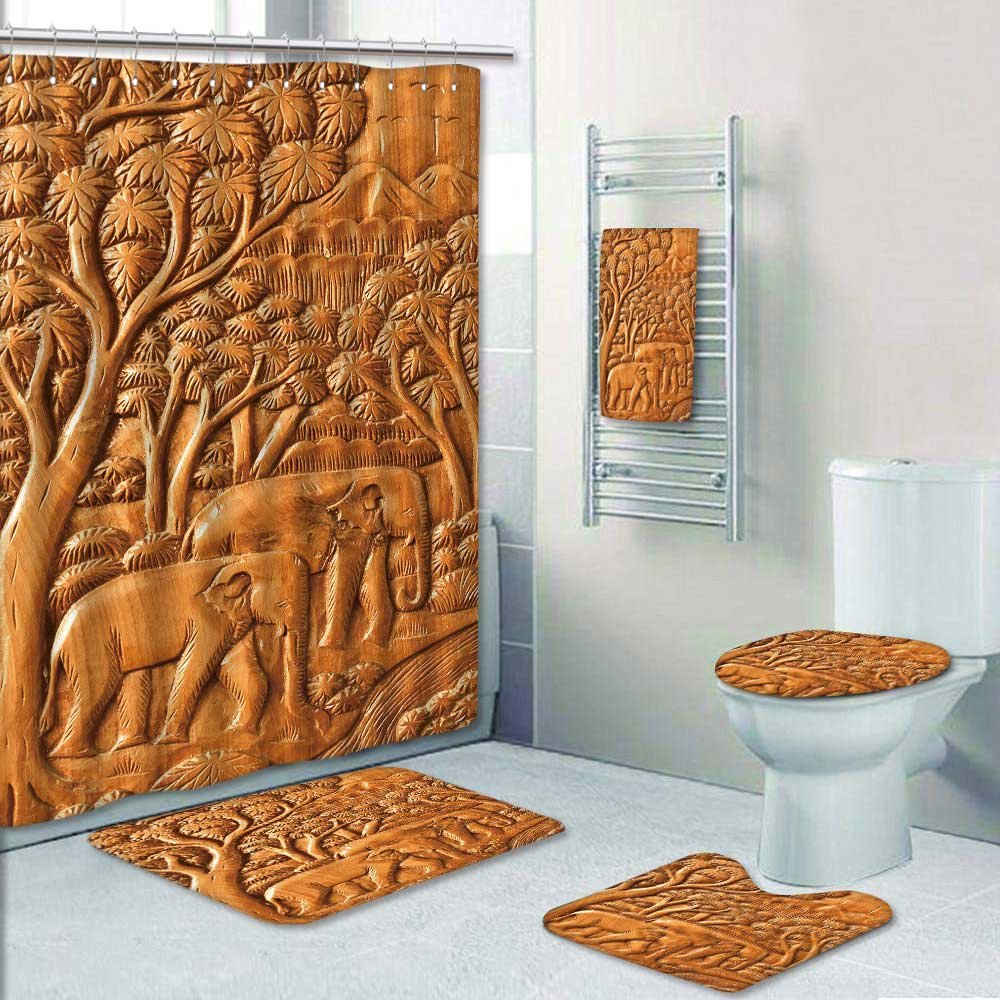 5-piece Bathroom Set-Includes Shower Curtain Liner,carved thai elephant wood w Decorate the bathroom(Large)
