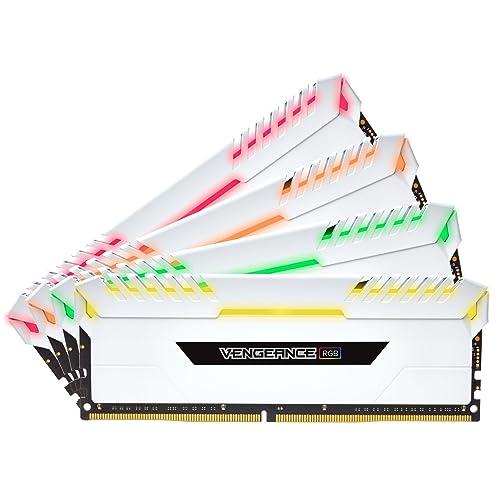 Corsair Vengeance RGB Kit de Mémorie Enthousiaste 32Go 4x8Go DDR4 3000MHz C16 XMP 2 0 Blanc