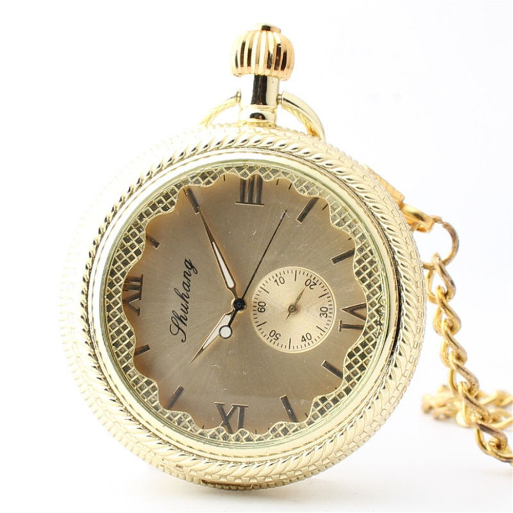 Zxcvlina Classic Smooth Creative Wave Pattern Watchcase Golden Women's Pocket Watch Boutique Hollowed Roman Numberals Mechanical Pocket Watch with Chain Suitable for Gift Giving