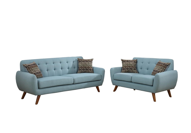 Amazon.com: Poundex F6914 Bobkona Sonya Linen-Like 2 Piece Sofa and ...