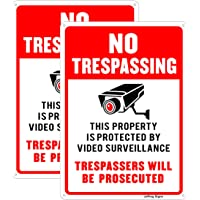 Joffreg Video Surveillance No Trespassing Sign,CCTV Security Camera Sign,UV Protected,Indoor Or Outdoor Use,20 x 30 cm…