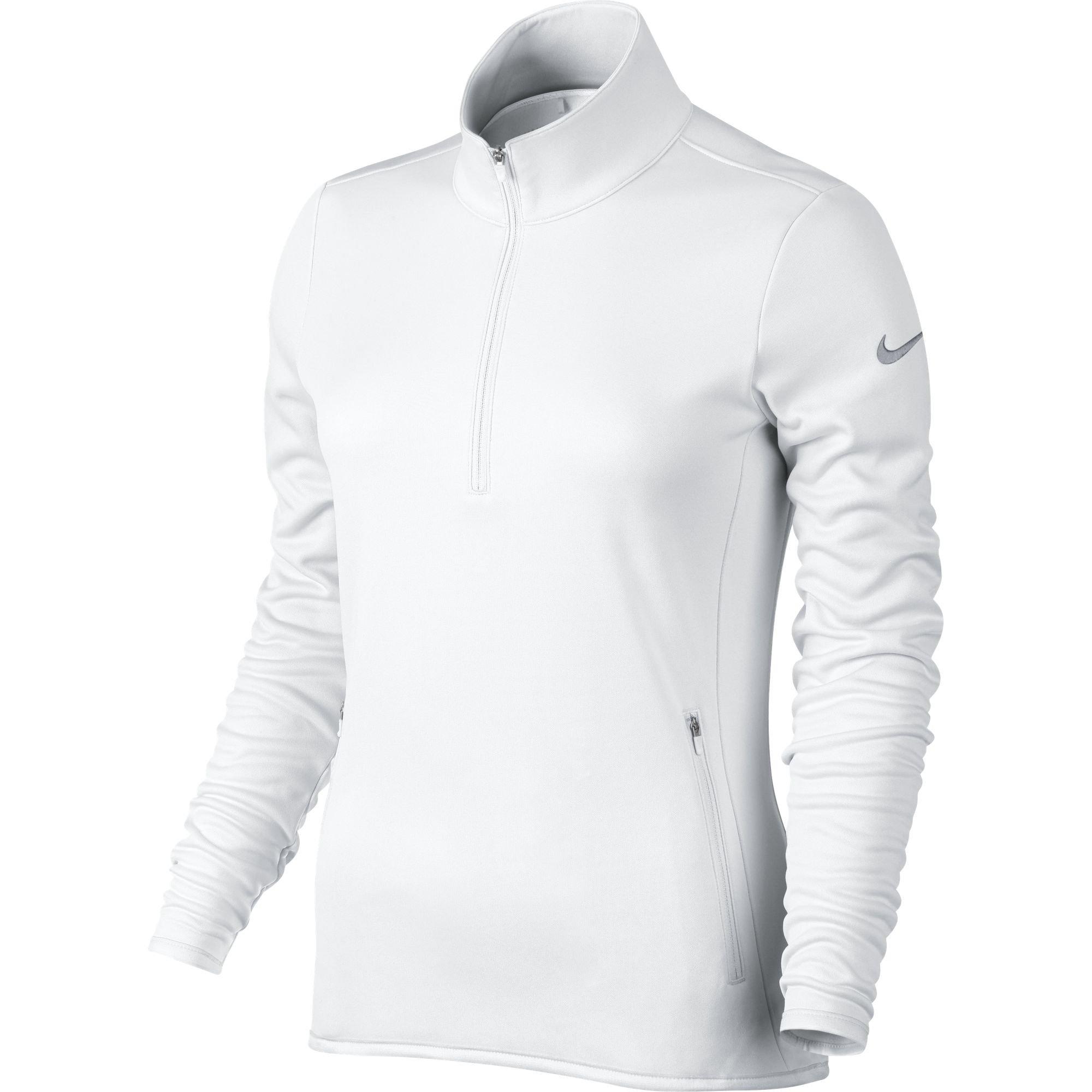 NIKE Women's Thermal 1/2 Zip Top, White/White/Wolf Grey, Medium