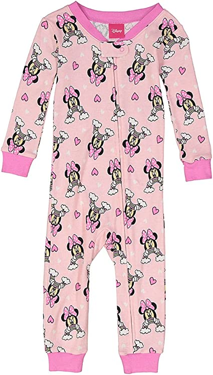 Toddler Girls Minnie Mouse Rainbow Pink Cotton Pajama Romper