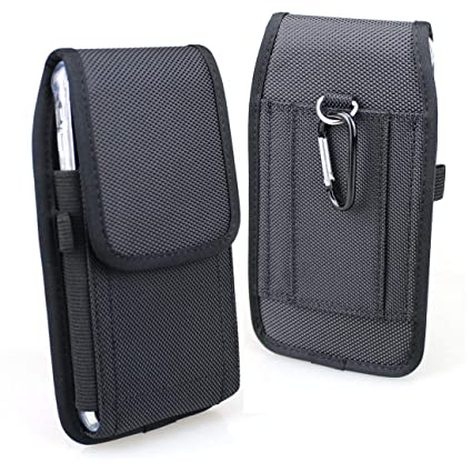 best sneakers fec4d 6437f Aubaddy Vertical Nylon Holster Pouch Case with Belt Loop for iPhone Xs Max,  iPhone 6/6s/7/8 Plus 5.5'' - Fit with a Thin Case (Black)