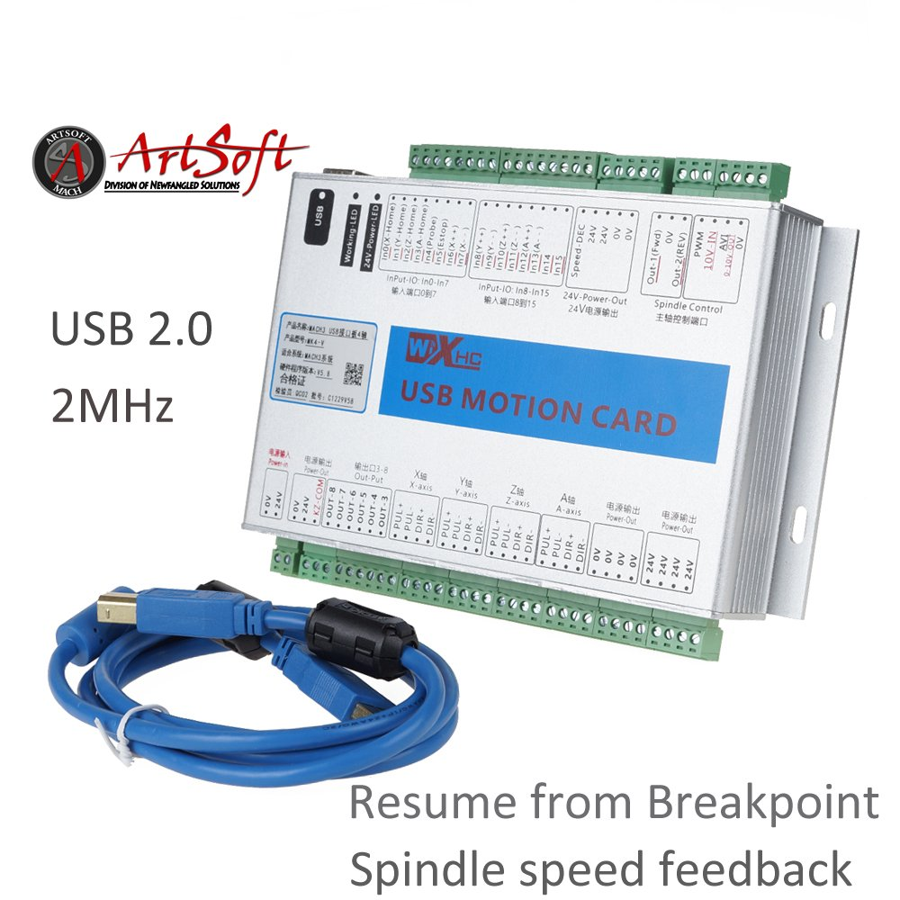 UCONTRO Mach3 USB 4 Axis CNC Motion Control Card Breakout Board 2000 KHz 2 MHz, Support Resume from Breakpoint and Spindle Speed Feedback, Work with Windows 7, 10 (4 Axis)