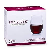 Deals on 12-count Mozaik Premium Plastic 15 oz. Stemless Wine Glasses