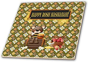 3dRose Beverly Turner Rosh Hashanah Design - Happy Rosh Hashanah, Bear on Barrow, Honey Jar, Basket of Apples - 4 Inch Ceramic Tile (ct_325236_1)