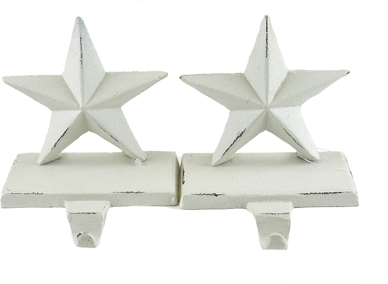 Party Explosions Cast Iron White Stars Holiday Stocking Holders - Set of 2