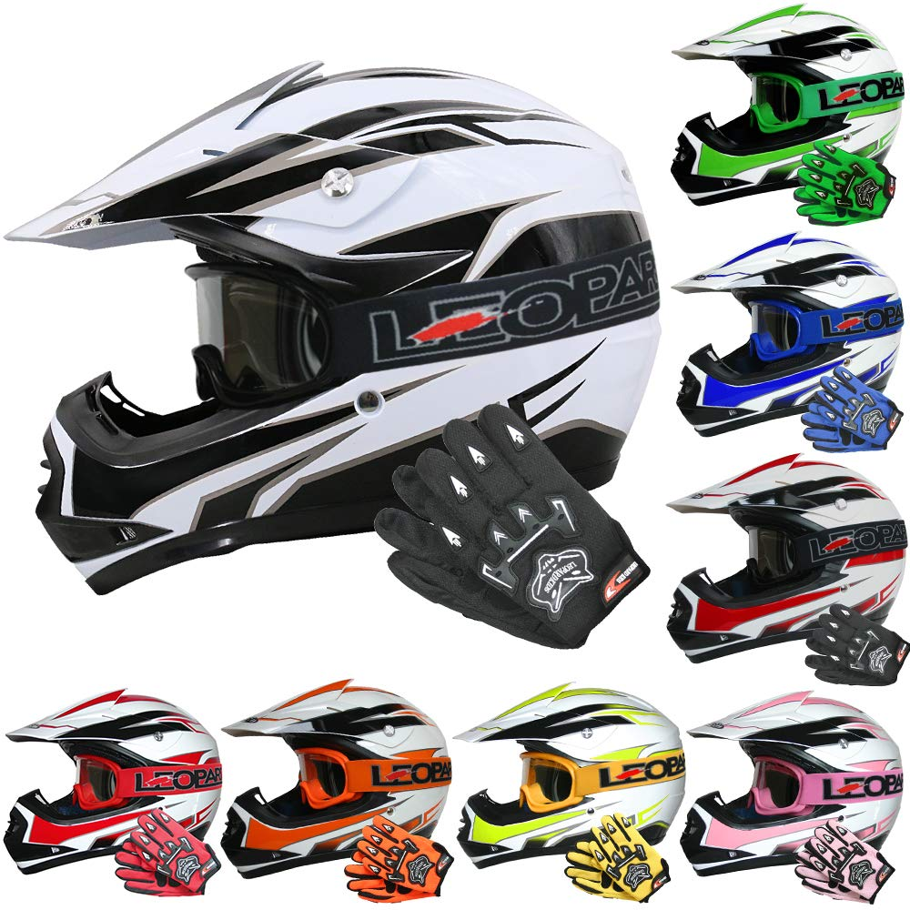 Leopard LEO-X19 PREDATOR { Kids Motocross Helmet /& Gloves /& Goggles 3-4 Yrs Pink S } Child Dirt Bike Motorocycle Helmet Clothing Suit XS