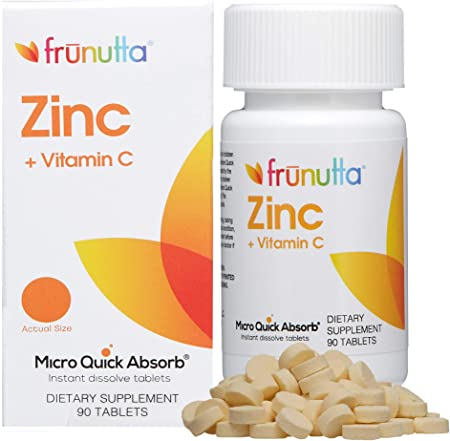 Frunutta Zinc + Vitamin C Supplement, Supports Immune System – Pure, Sugar-Free, Non-GMO, Vegetarian – Instant Dissolve Tablets for Children and Adults, 90 Tablets, Proudly Made in The USA
