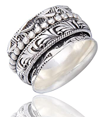 Energy Stone SEVEN OM Narrow Band Sterling Silver Spinning Ring (Style# UK39) ST0U9l1ra7