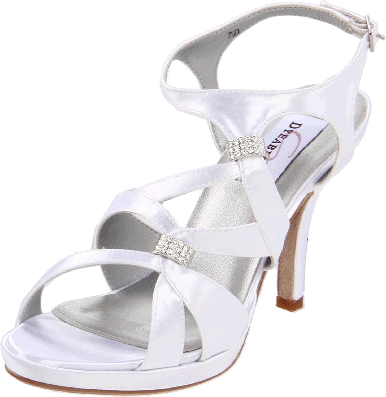 Dyeables Women's Claire Leather Platform Sandal B005WQOOFE 9 D US|White Satin