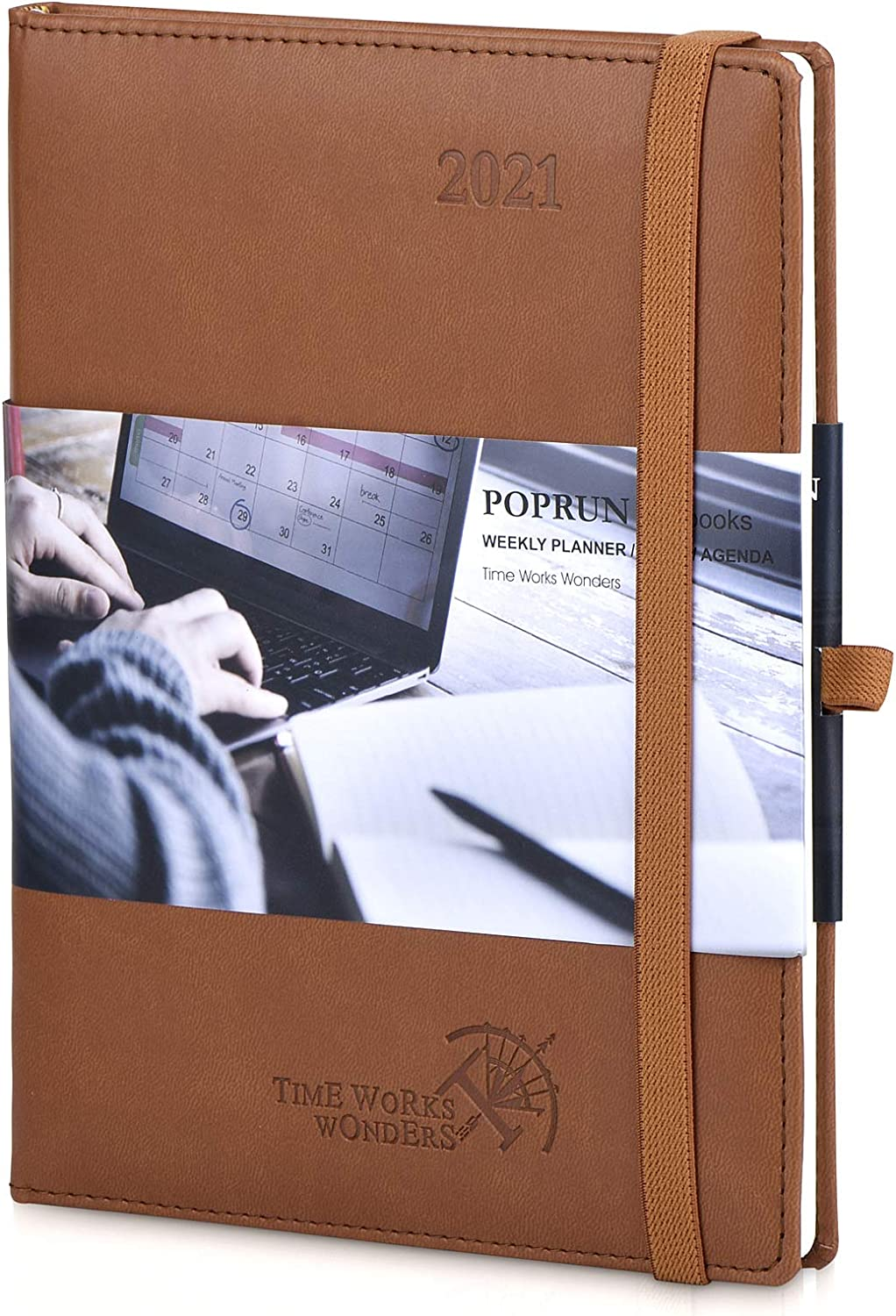 """2021 Planner Weekly & Monthly Calendar Hourly Appointment Book - Vegan Leather Hard Cover Agenda 2021 with Pocket, Pen Holder, Note & Address Pages, 6.5"""" x 8.5"""", Brown"""