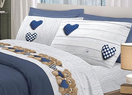 b0e72d02e8 BIANCHERIAWEB Completo Lenzuola in 100% Cotone Disegno New Orsetti  Matrimoniale Blu: Amazon.it: Casa e cucina
